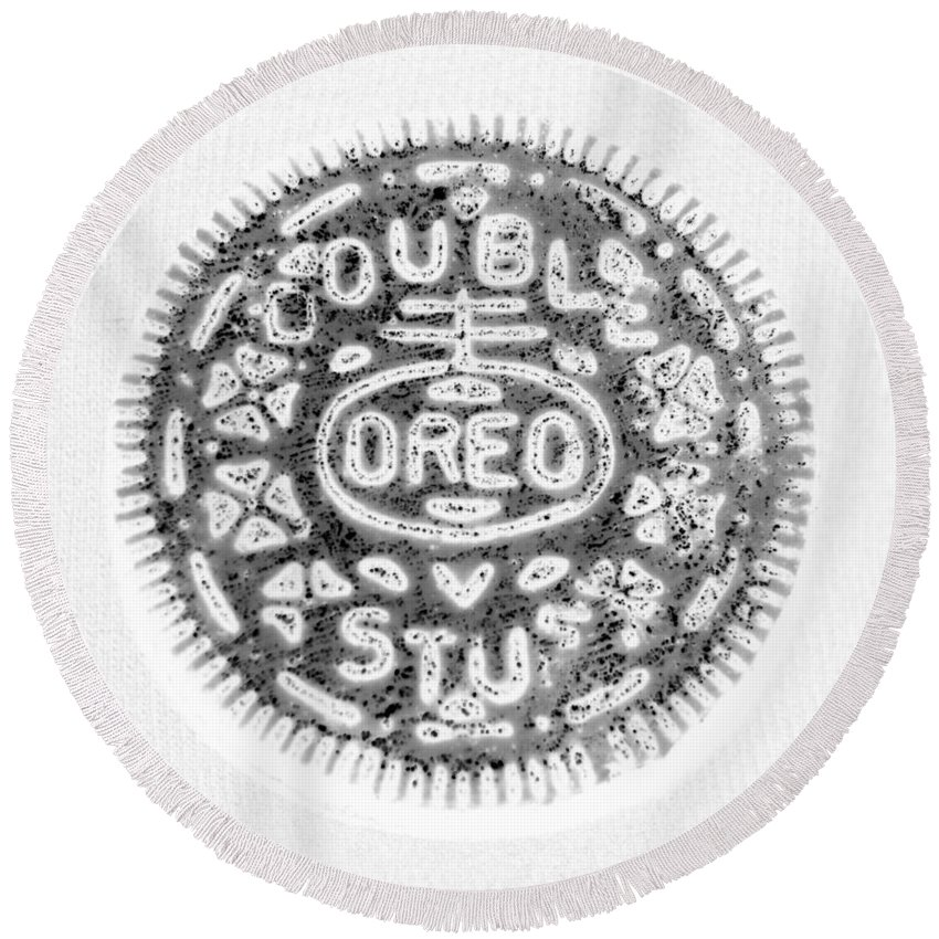 Oreo Round Beach Towel featuring the photograph Oreo In Negetive by Rob Hans
