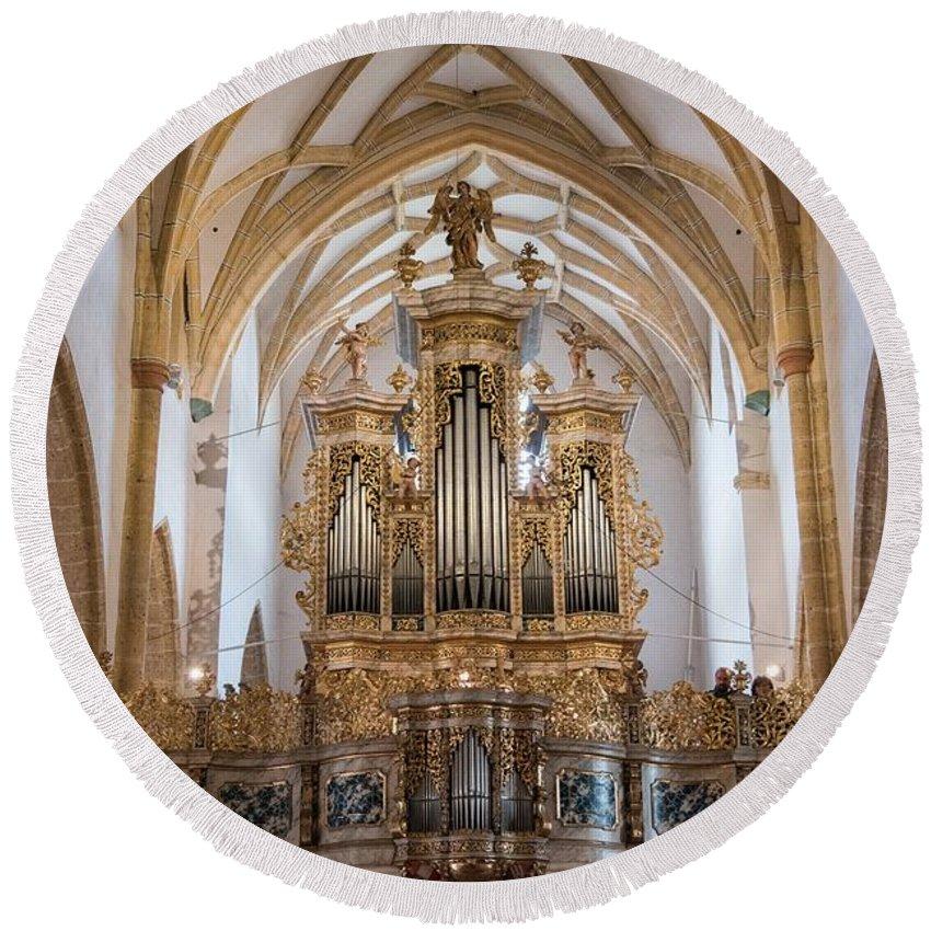 Church Round Beach Towel featuring the photograph Organ Of The Gothic-baroque Church Of Maria Saal by Nicola Simeoni