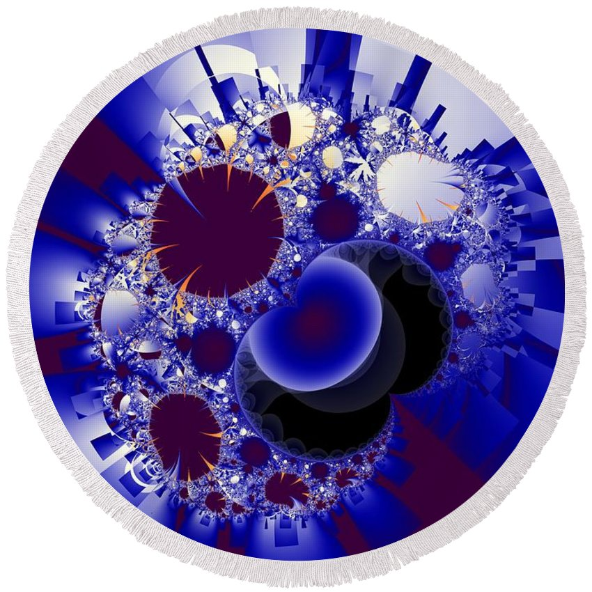 Fractal Image Round Beach Towel featuring the digital art Organics And Geometry by Ron Bissett