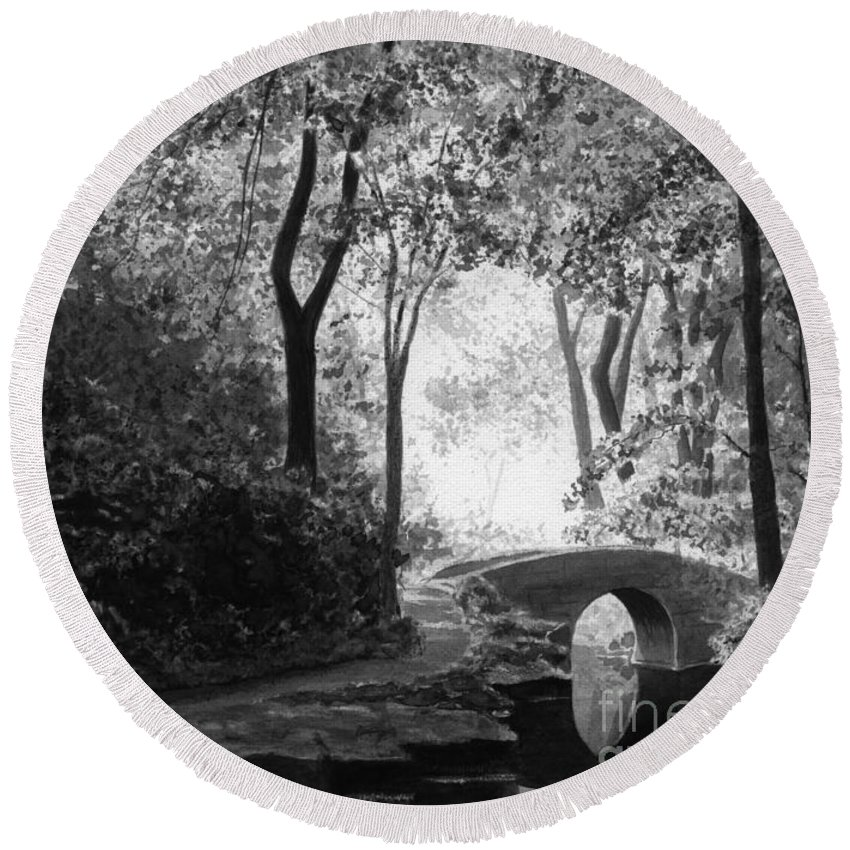 Black And White Round Beach Towel featuring the painting Oriental Garden by Lynn Quinn