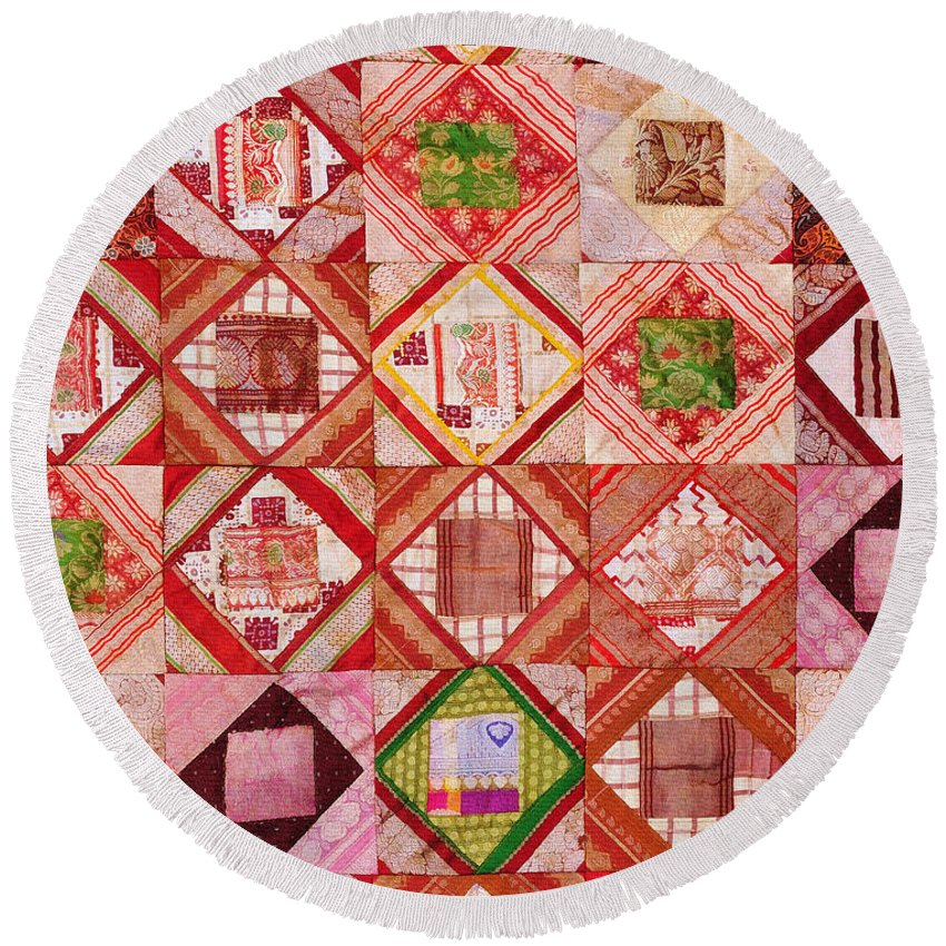 Tapestry Round Beach Towel featuring the photograph Oriental Patchwork Tapestry by Grigorios Moraitis