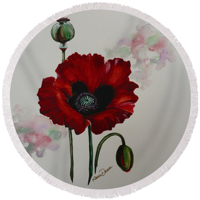 Floral Poppy Red Flower Round Beach Towel featuring the painting Oriental Poppy by Karin Dawn Kelshall- Best