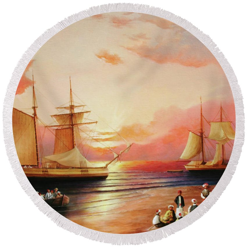 Sunset Round Beach Towel featuring the painting Oriental Sailor Chiefs Gathered For A Meeting On The Shores Of The Black Sea by Zohrab Kemkemian