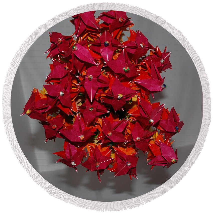 Origami Round Beach Towel featuring the photograph Origami Flowers by Rob Hans
