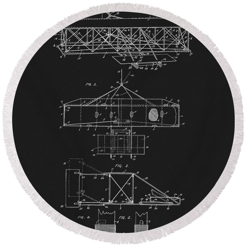 The Wright Brothers Airplane Patent Round Beach Towel featuring the mixed media Original 1906 Wright Brothers Full Patent by Dan Sproul