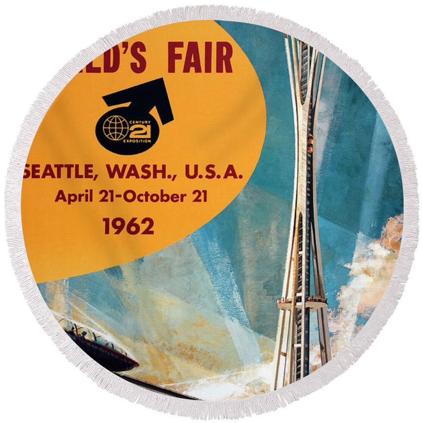 Seattle Worlds Fair Round Beach Towel featuring the photograph Original 1962 Seattle Worlds Fair Promotion by Daniel Hagerman