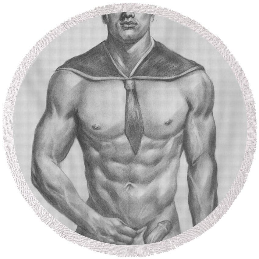 Original art round beach towel featuring the painting original charcoal pencil drawing male nude man by