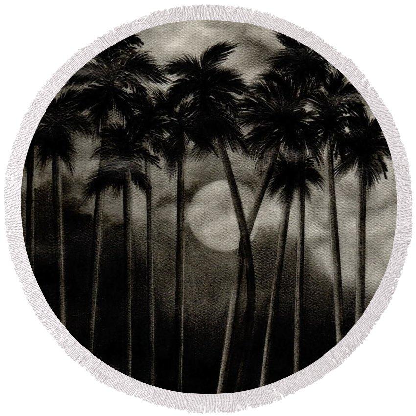 Original Moonlit Palm Trees Round Beach Towel featuring the drawing Original Moonlit Palm Trees by Larry Lehman