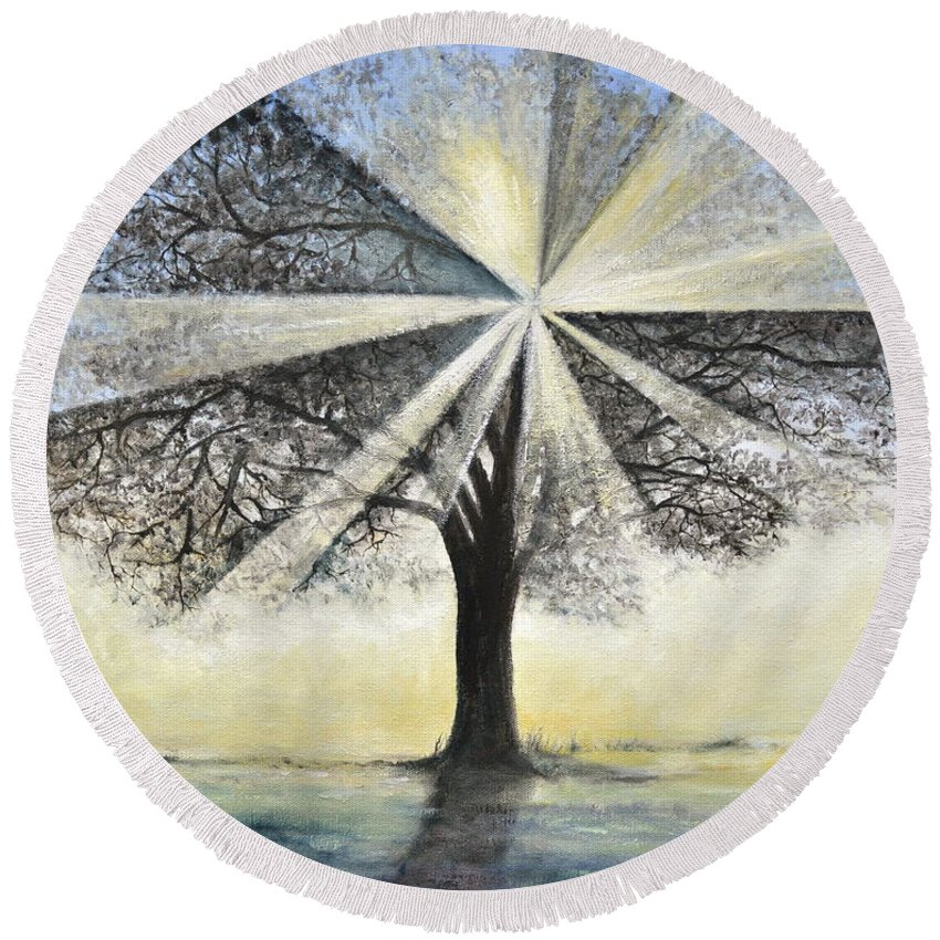 Tree Painting Round Beach Towel featuring the painting original Tree Light by Penny Neimiller