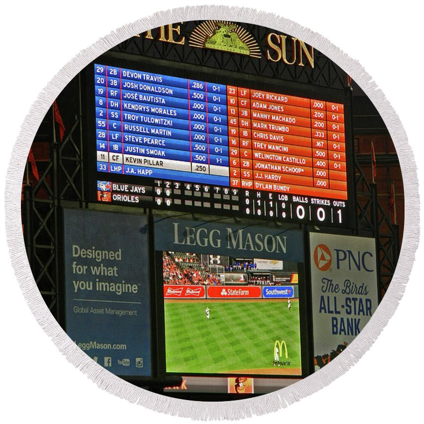Orioles Game At Camden Yards Round Beach Towel featuring the photograph Orioles Game At Camden Yards by Emmy Vickers
