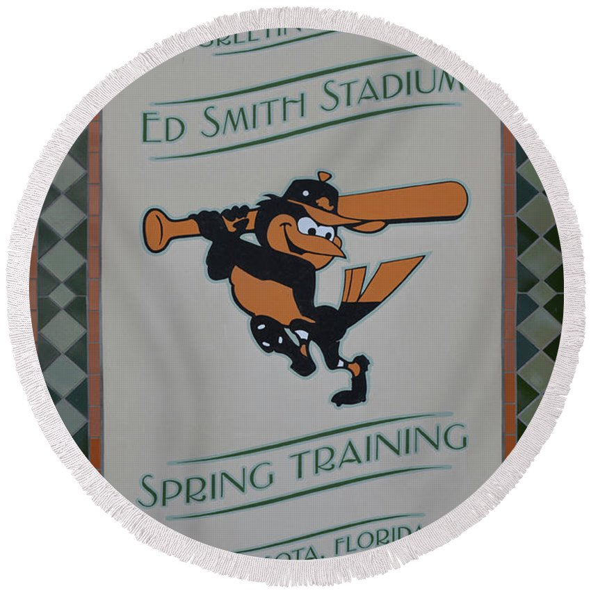The Orioles Round Beach Towel featuring the photograph Orioles Spring Training by To-Tam Gerwe