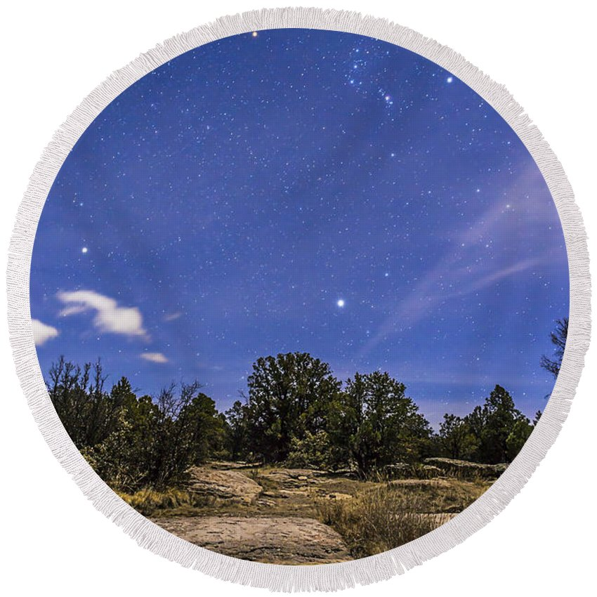 Belt Of Orion Round Beach Towel featuring the photograph Orion And Sirius Rising by Alan Dyer