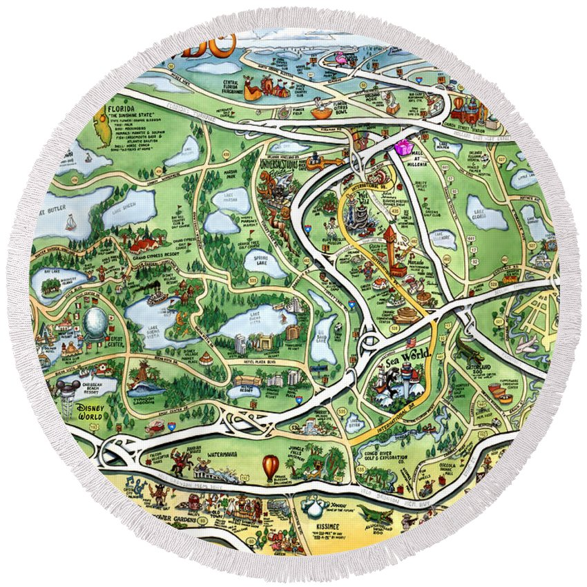 Orlando Round Beach Towel featuring the digital art Orlando Florida Cartoon Map by Kevin Middleton