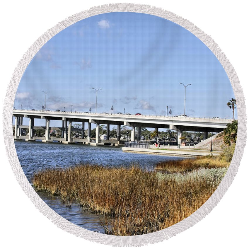 Ormond Beach Round Beach Towel featuring the photograph Ormond Beach Bridge by Deborah Benoit