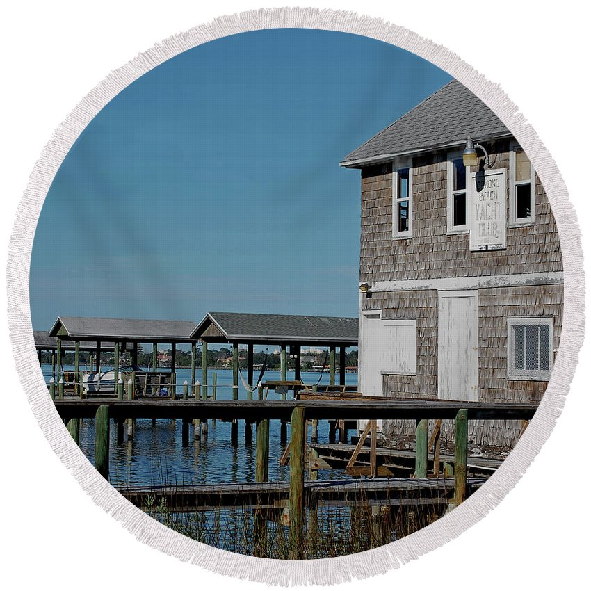Historic Round Beach Towel featuring the photograph Ormond Yacht Club Est 1910 by DigiArt Diaries by Vicky B Fuller
