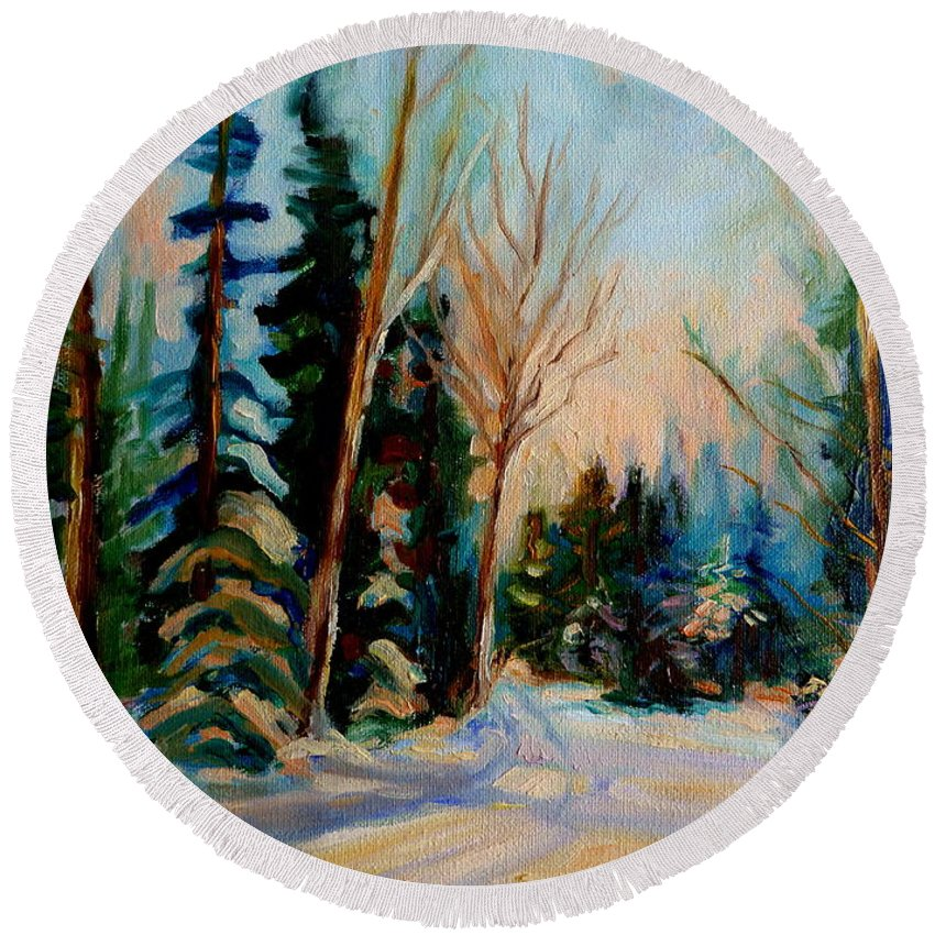 Ormstown Quebec Winter Road Round Beach Towel featuring the painting Ormstown Quebec Winter Road by Carole Spandau