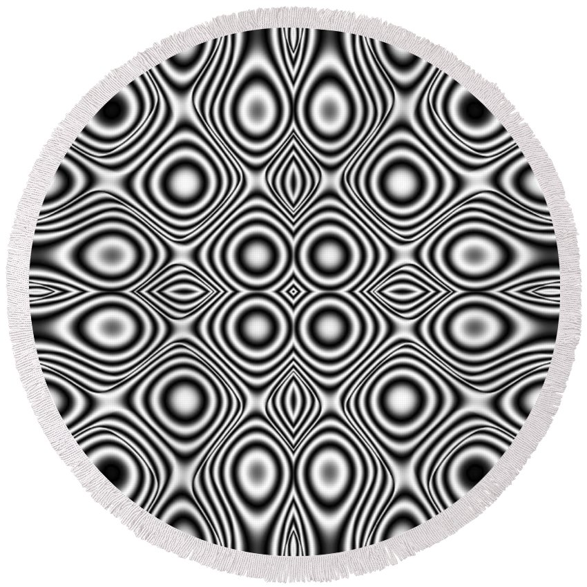Ornament Round Beach Towel featuring the digital art Ornament by Michal Boubin