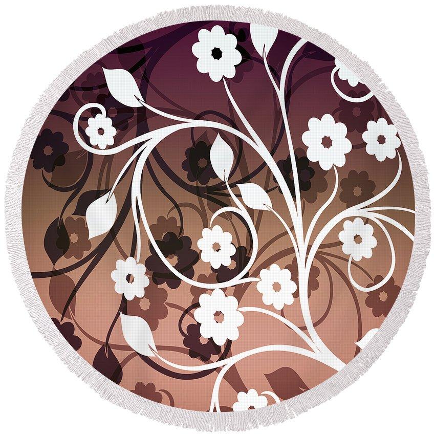 Flower Round Beach Towel featuring the digital art Ornametal 2 Purple by Angelina Vick
