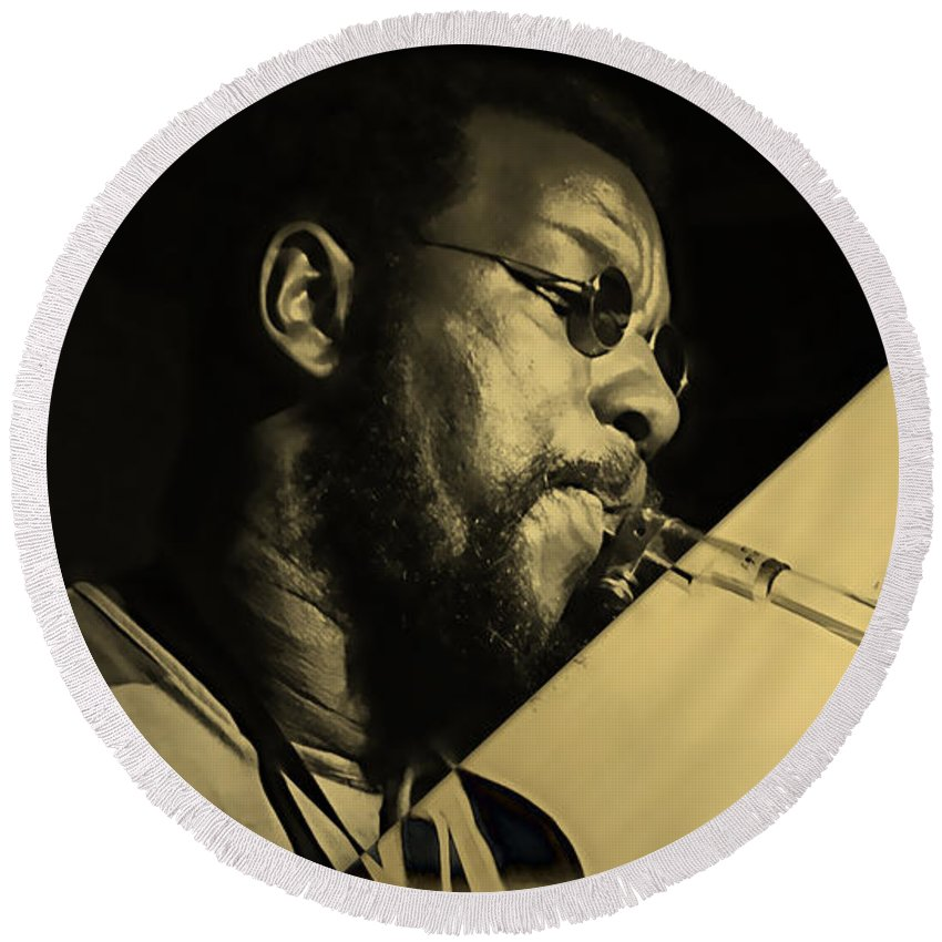 Ornette Coleman Round Beach Towel featuring the mixed media Ornette Coleman Collection by Marvin Blaine