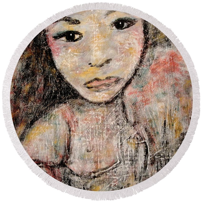 Orphan Round Beach Towel featuring the painting Orphan by Natalie Holland