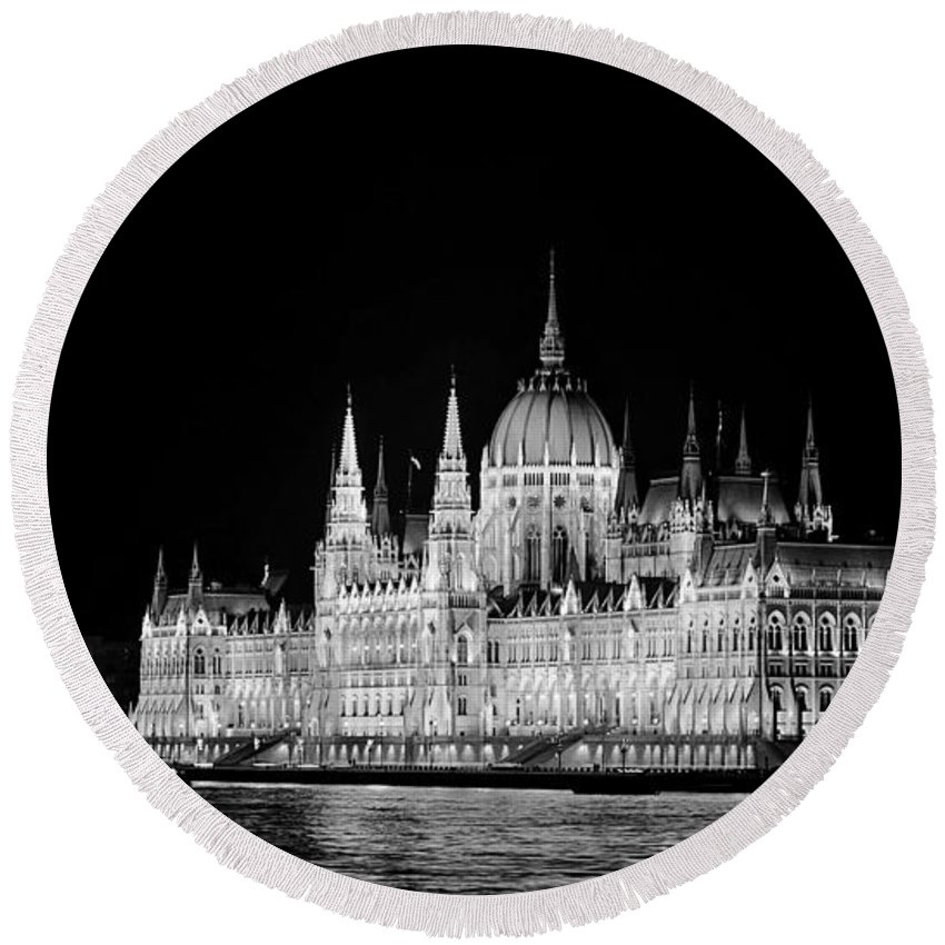 Hungary Round Beach Towel featuring the photograph Orszaghaz At Night by Heather Applegate