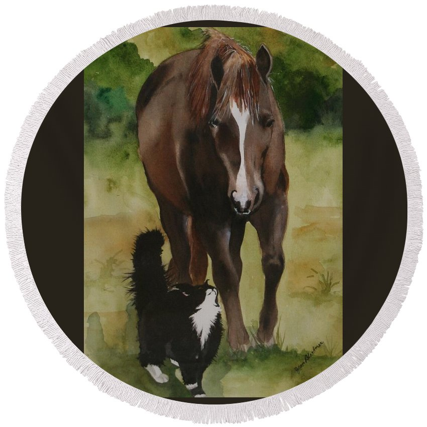Horse Round Beach Towel featuring the painting Oscar And Friend by Jean Blackmer