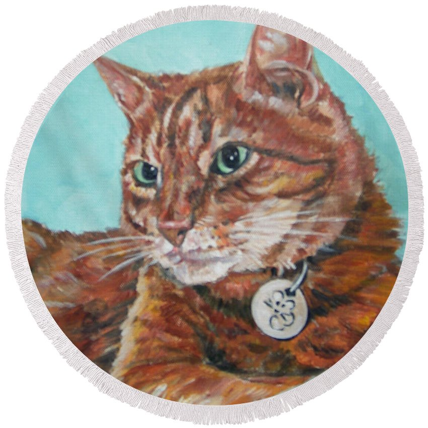 Cat Round Beach Towel featuring the painting Oscar by Bryan Bustard