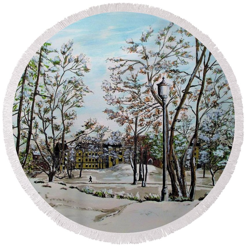 Oslo Round Beach Towel featuring the painting Oslo In Winter by Olga Silverman