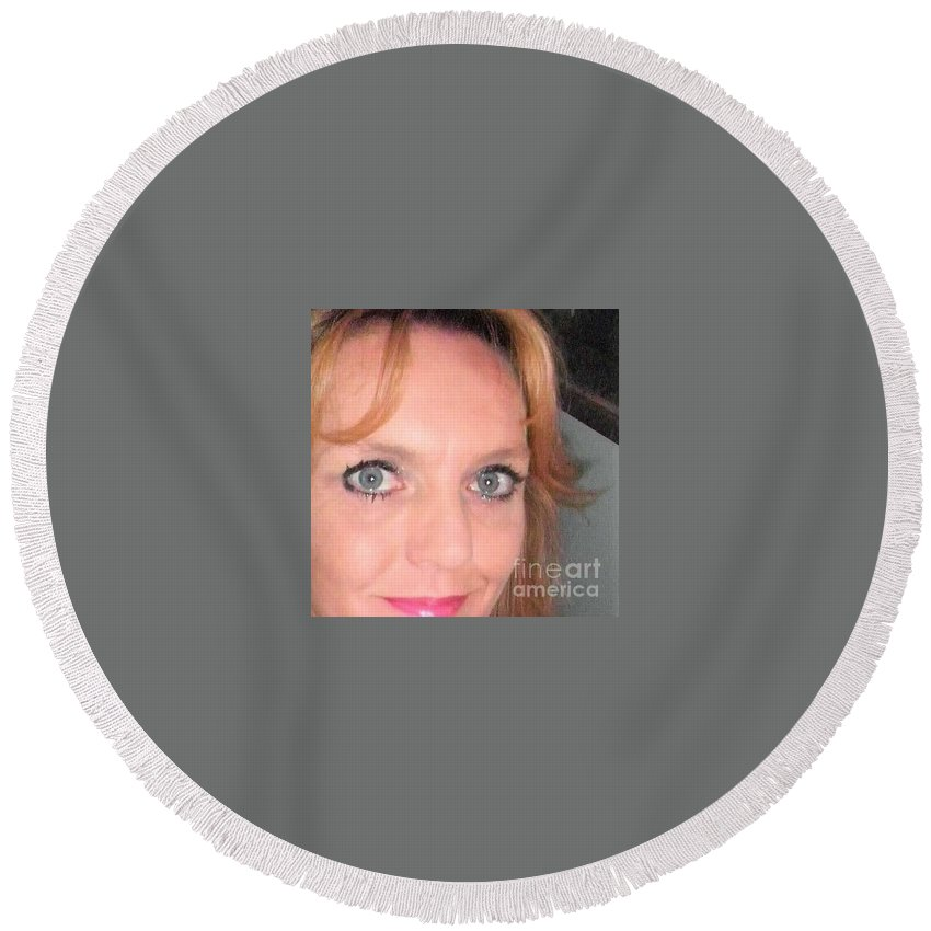 Round Beach Towel featuring the photograph Other Me by Miss McLean
