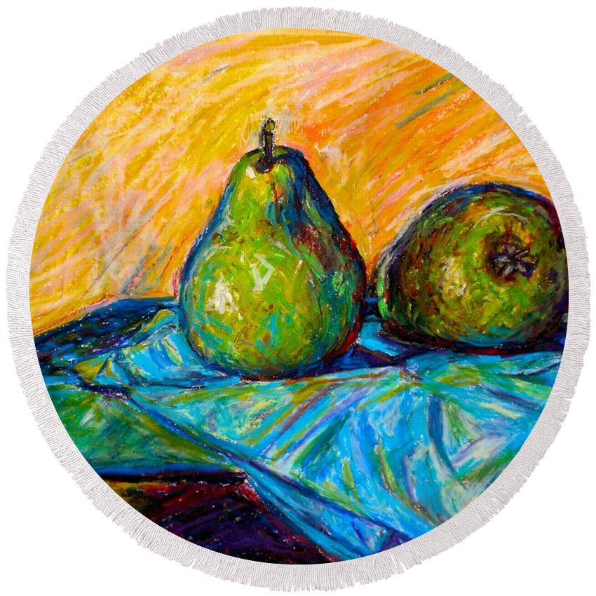 Still Life Round Beach Towel featuring the painting Other Pears by Kendall Kessler