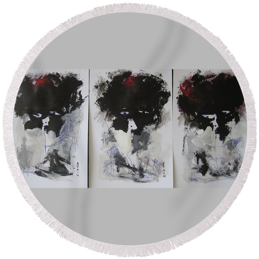 Original Round Beach Towel featuring the painting Other Than 3 by Seon-Jeong Kim
