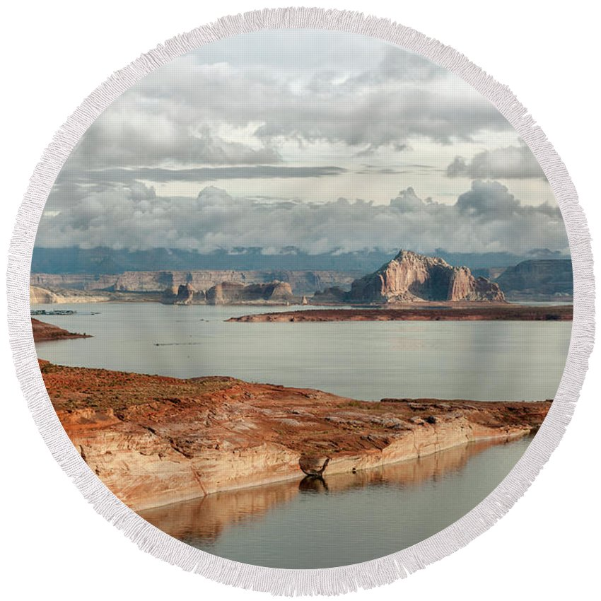 Southwest Round Beach Towel featuring the photograph Otherworldly Morning At Lake Powell by Sandra Bronstein