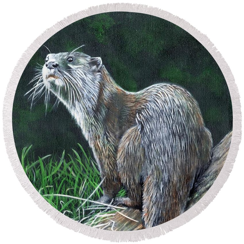 Otter Round Beach Towel featuring the painting Otter On Branch by John Neeve