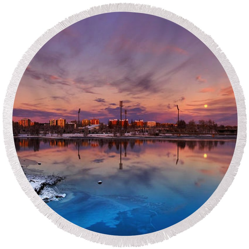 Panorama Round Beach Towel featuring the photograph Oulu Moonrise Panorama by Sandra Rugina