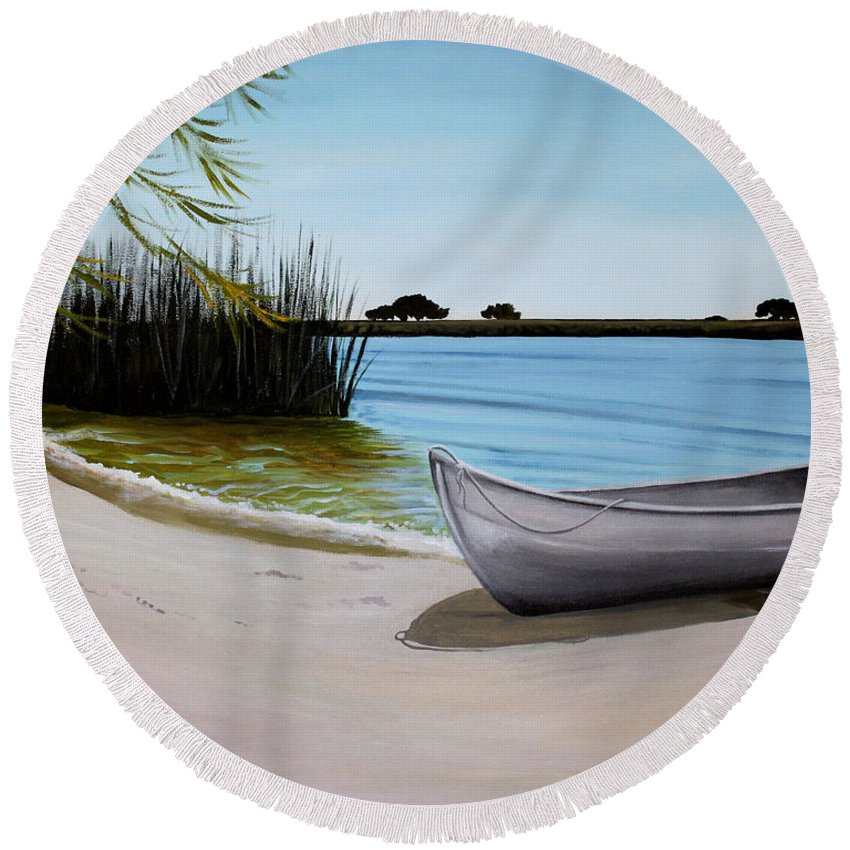 Landscape Round Beach Towel featuring the painting Our Beach by Elizabeth Robinette Tyndall