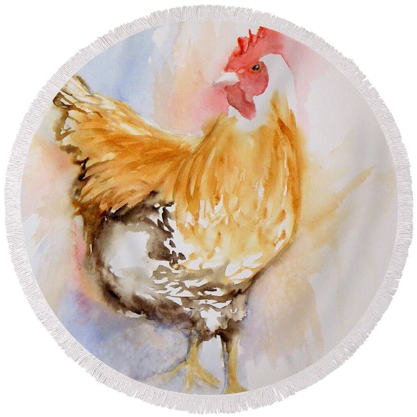 Buff Orpington Rooster Round Beach Towel featuring the painting Our Buff Rooster by Anna Jacke