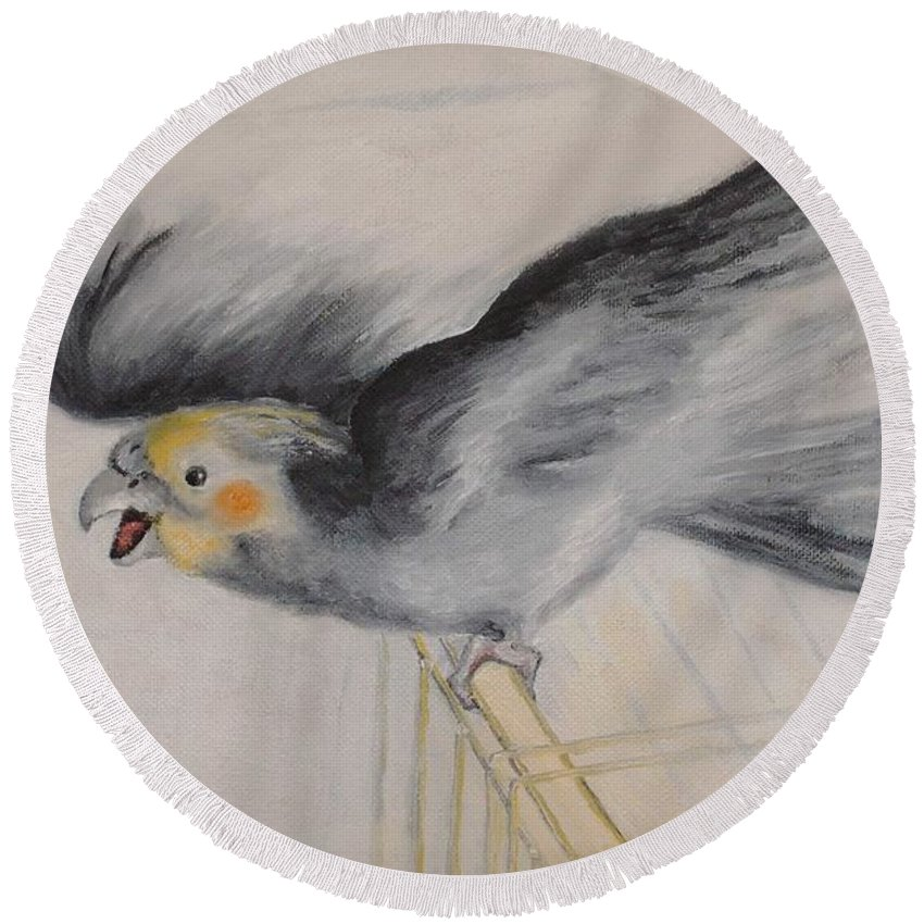 Cockatiel.pet Round Beach Towel featuring the painting our cockatiel Coco by Helmut Rottler