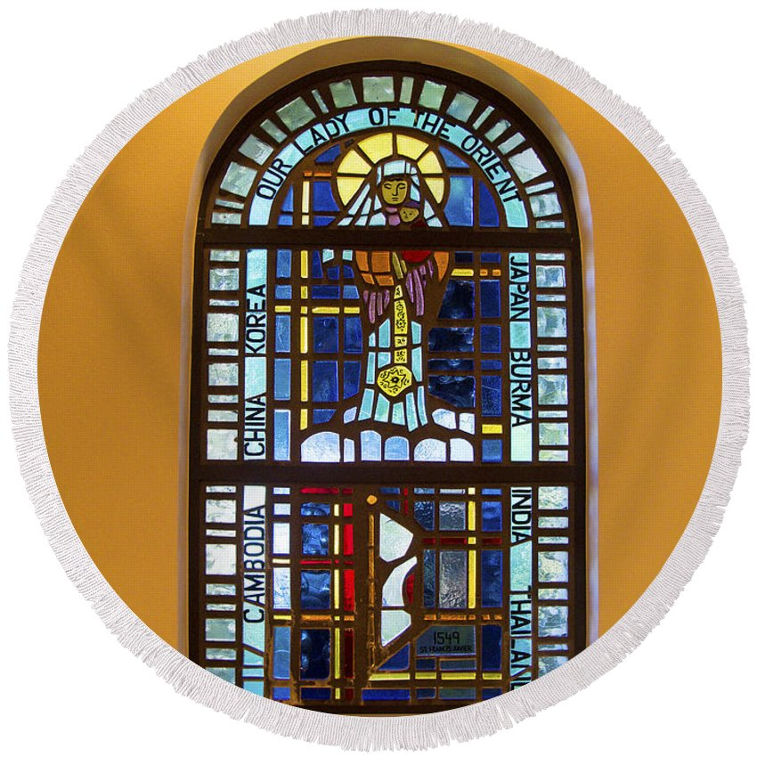 Our Lady Of The Orient Stained Glass Window Round Beach Towel featuring the photograph Our Lady Of The Orient by Sally Weigand