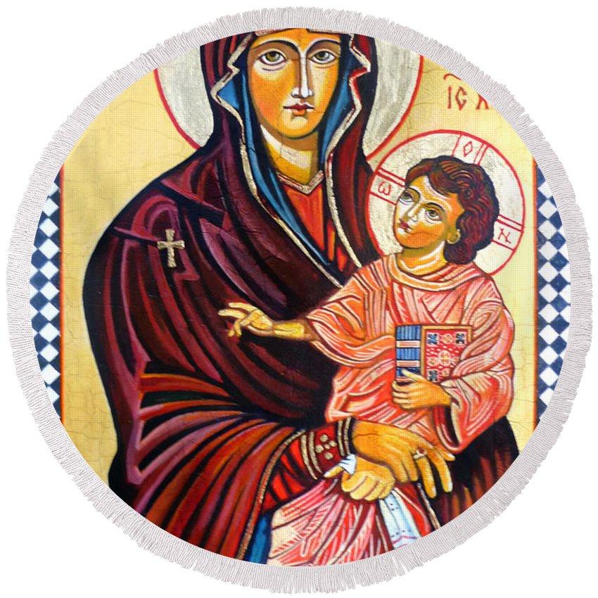 Our Lady Of The Snows Icon Round Beach Towel featuring the painting Our Lady Of The Snows by Ryszard Sleczka