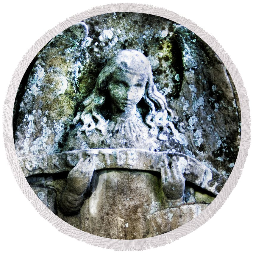 Angel Round Beach Towel featuring the photograph Our Little Angel Stone Carving Horizontal by John Harmon