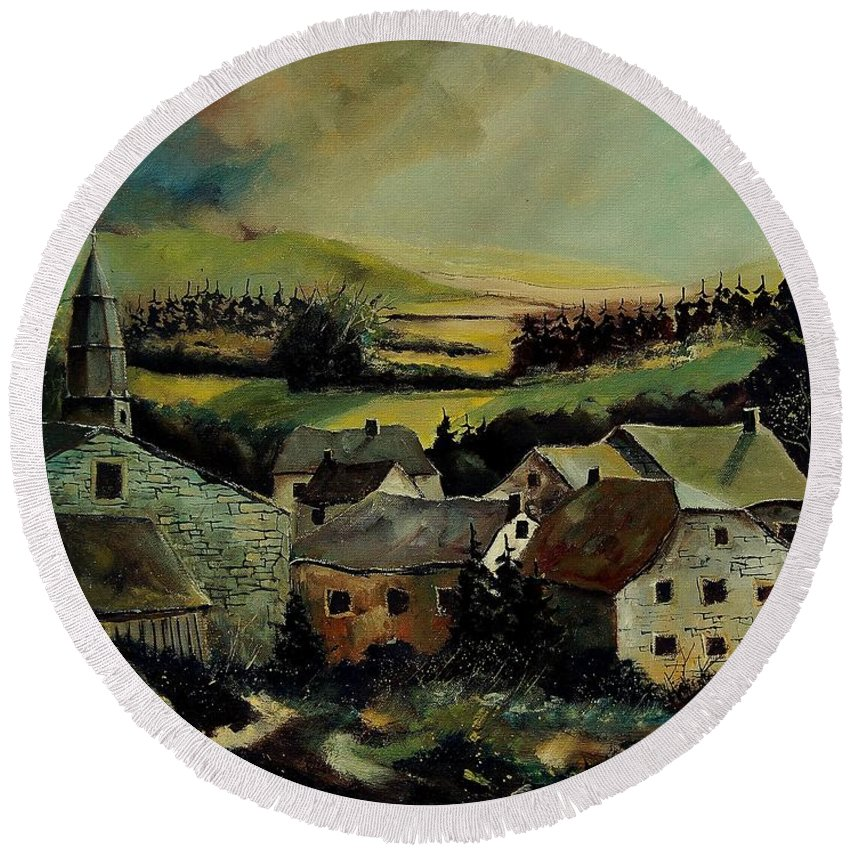 Village Round Beach Towel featuring the painting Our Opont Belgium by Pol Ledent