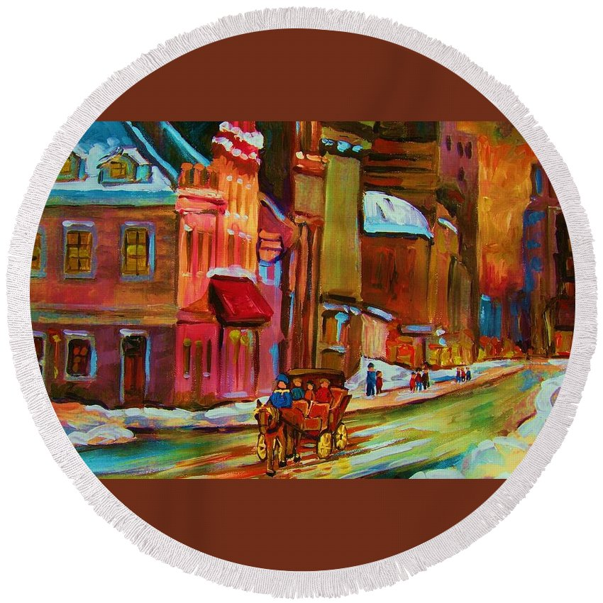 Montreal Round Beach Towel featuring the painting Our Perfect Day by Carole Spandau