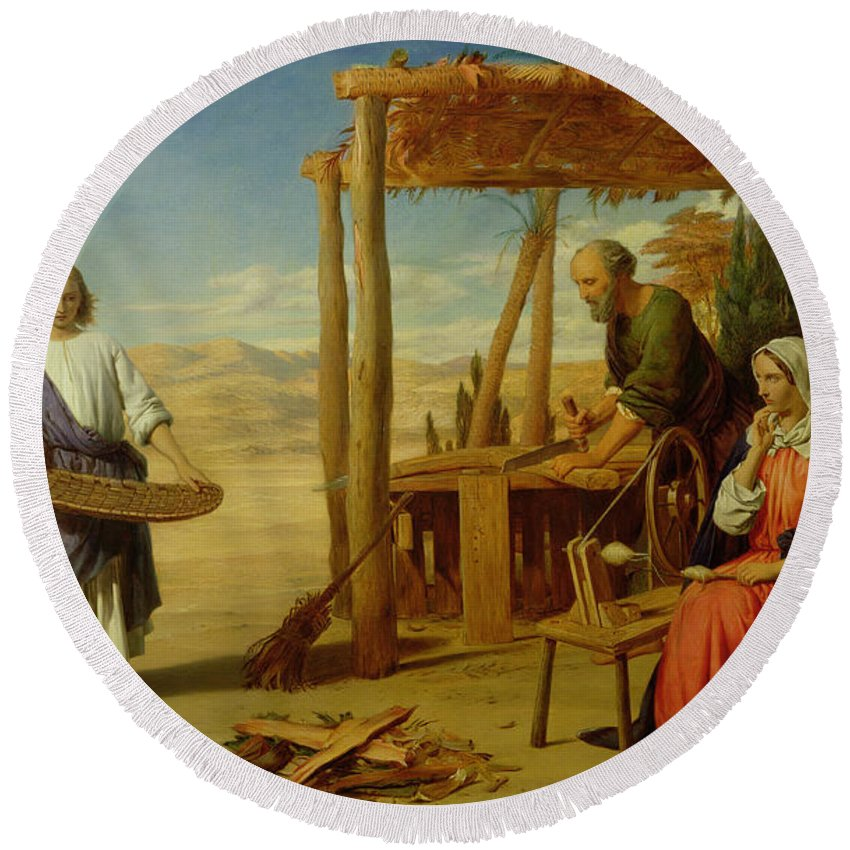 Pre-raphaelite Round Beach Towel featuring the painting Our Saviour Subject To His Parents At Nazareth by John Rogers Herbert