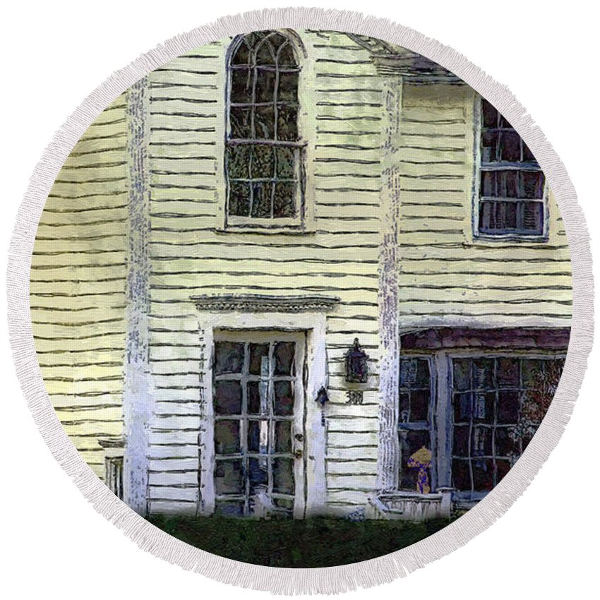 House Round Beach Towel featuring the painting Our Town's Witch House by RC DeWinter