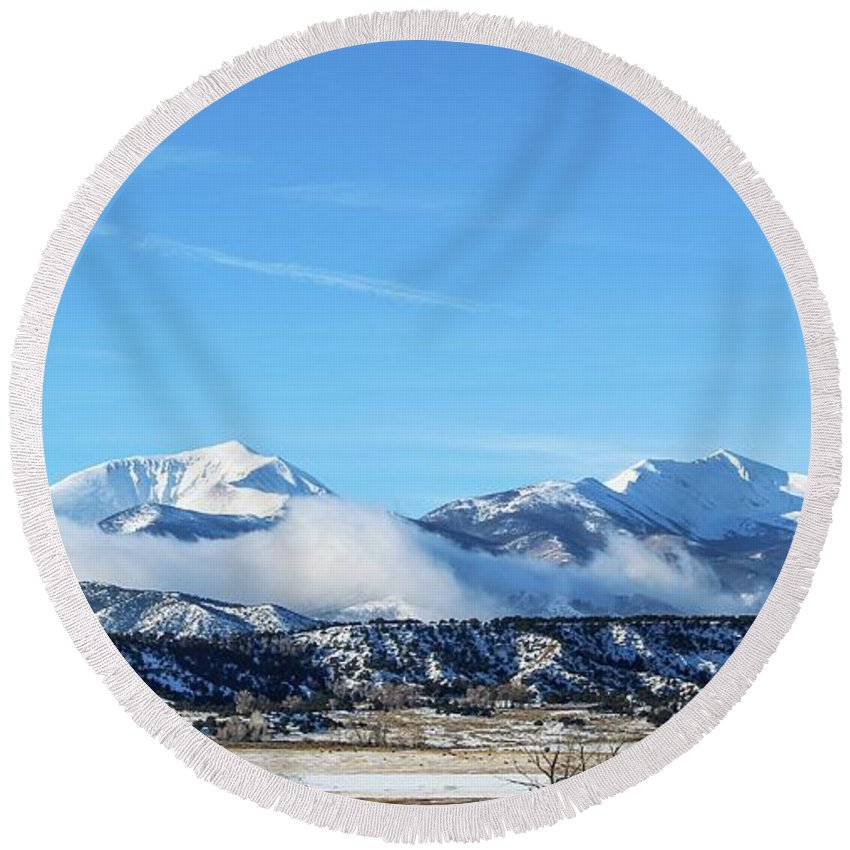 Mt Ouray Round Beach Towel featuring the photograph Ouray And Chipeta by Joseph Holub