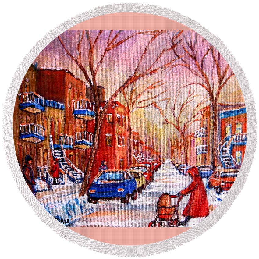 Montreal Round Beach Towel featuring the painting Out For A Walk With Mom by Carole Spandau