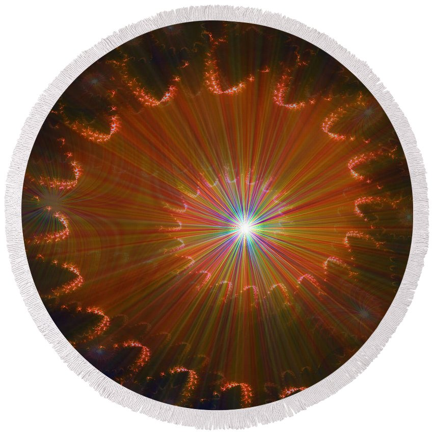Super Nova Stars Another World Universe Abstract Spectrum Colorful Round Beach Towel featuring the digital art Out Of Control by Andrea Lawrence
