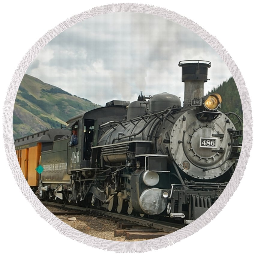 Steam Train Photographs Round Beach Towel featuring the photograph Out Of Here by Ken Smith