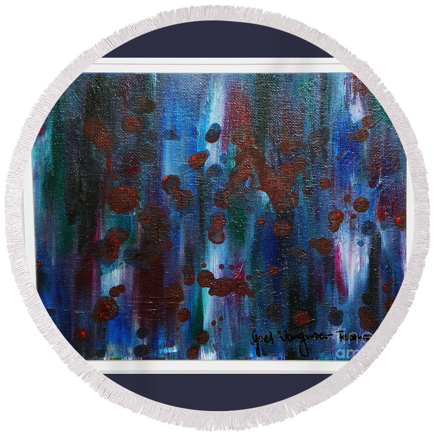 Acrylic Painting Round Beach Towel featuring the painting Out Of The Blue by Yael VanGruber
