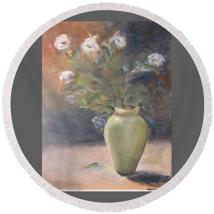 Flower Round Beach Towel featuring the painting Out Of The Garden by Patricia Caldwell